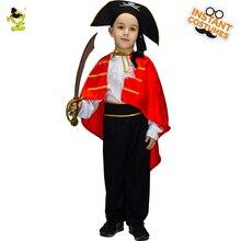 Маленьких мальчиков пиратские костюмы с красной накидкой дети Nobe Викинг лидер маскировка наборы для Хэллоуина maquerade партии(China)