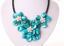 classic white baroque freshwater pearl blue shell flower leather necklace Factory Wholesale price Women Gift word Jewelry