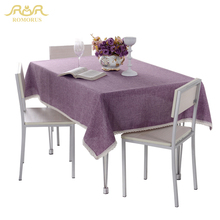ROMORUS 1-Piece Solid Color Tablecloth for Dining Cotton Linen Purple Blue Table Cloth Rectangle Table Linen Cover for Tea Table