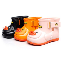 2017 Mini sed yellow duck boy girl rain Boots baby todder little adorable girl fashion boots non slip water shoes Sapato