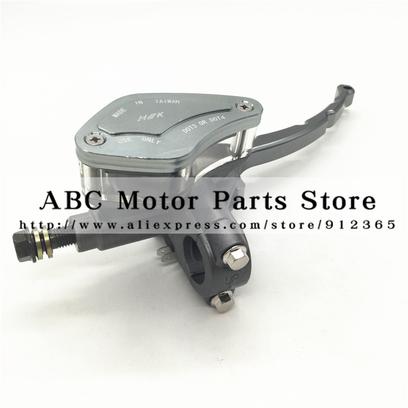 Hydraulic Brake Lever for Electric Scooter Motorcycle With Mirror Mounts Brake Lever with light switch Transparent Oil Cup<br>