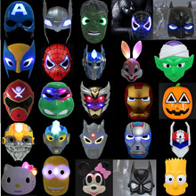 Large Collection The Avengers LED Glowing Mask Spiderman Iron-man Hulk Batman Cartoon Animation Mask Halloween Cosplay Gift