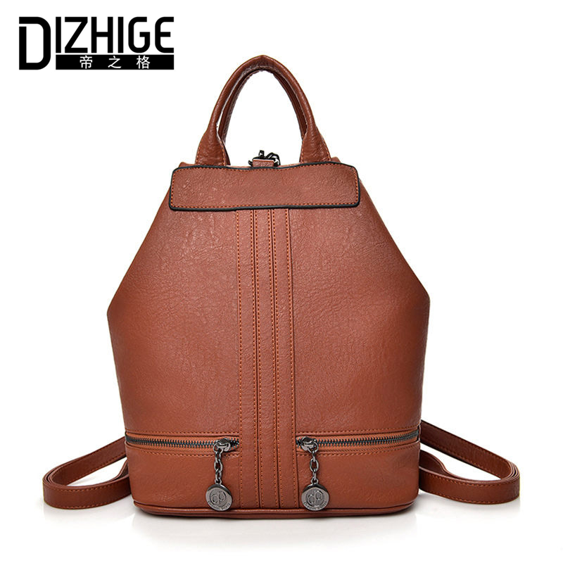 DIZHIGE Brand Multifunction Leather Backpack Women Double Zipper School Bags Teenager Girls High Quality Women Backpack Designer<br>