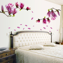 wall stickers home decor living room Magnolia Flower home decoration accessories wall stickers bedroom decorations adesivos(China)