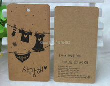 customize clothing retro kraft paper hang tag/kids clothing label printing/garment printed price tags/trademark/brand/swing tag