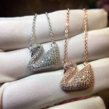 Hot Sell Brand Swan Pure 925 Sterling Silver Gifts Women Necklace Classic Rose Gold Color Swan Jewelry Romantic Necklace Pendant