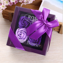 4PC Rose Soap Flower with Gift Box Petals Bath Body Romantic Wedding Decoration Valentines Day Baby Shower Party Favors Gifts-B