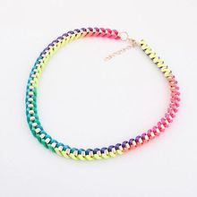 Free airmail shipping Fashion New Arrival Personality Neon Color Knitted Necklace N808