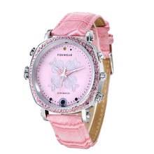 2017 Wifi DVR Watch Women Pink Mini P2P Pocket Mini DVR WIFI Watch Built in 16G With Classic Dial Gem finish WIFI DVR Watch F26