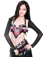 New Women's belly dance set costume belly dancing clothes Sexy Night dance bellydance Carnival Tops Rhinestone Sleeves(China)