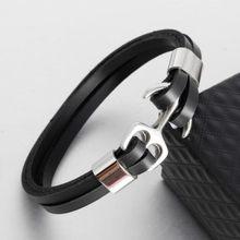 Hommes D\u0027ancrage En Acier Inoxydable de Bracelet Rétro Noir En Cuir Bracelet  Multicouche Bracelet En Cuir Couple Bracelet