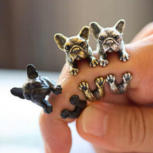 Vintage pitbull boxer dog rings jewelry adjustable French pit bull dog wrap ring dog lover animal for men women party