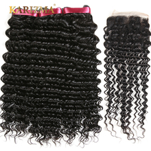 Karizma Brazilian Deep Wave Bundles With Closure 4X4 Free Part 100% Human Hair 3 Bundles With Closure 4Pcs Non Remy Hair Weave(China)