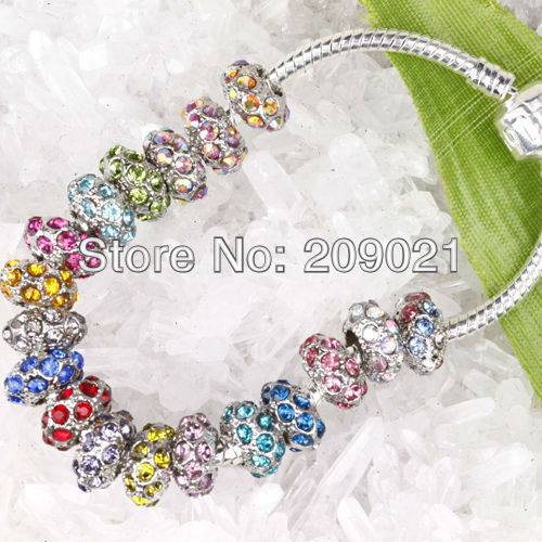 Finding 100pcs Silver Tone Mixed Color Crystal European Bead Fit Charm Bracelet )