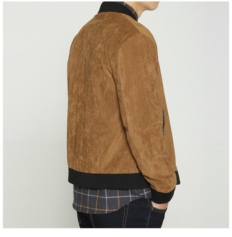 Jacket Men High Quality Autumn Baseball Collar Suede Spring Mens Jacket Coat Male Winter Warm Camel Size M L XL XXL 3XL 2018 New-05