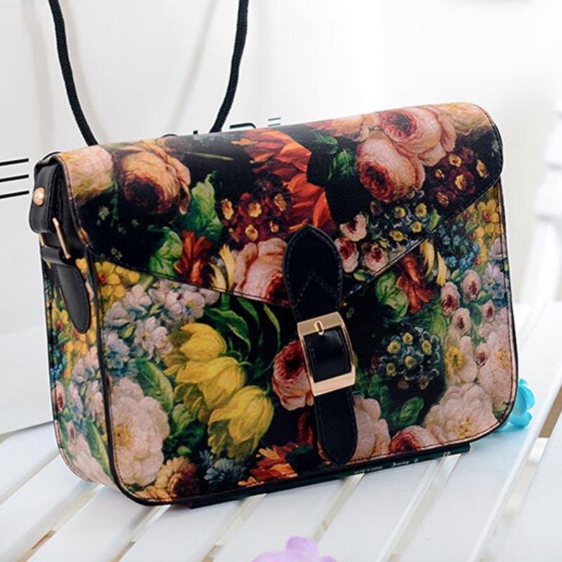 Women Painting Flowers Leather Crossbody Handbag Tote Bags Purse designer bags famous brand women messenger Bag 2016<br><br>Aliexpress