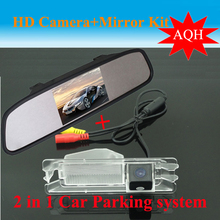 "Parking Assistance 2 in 1 4.3"" inch Digital LCD Mirror Car Parking r + Car Parking Rear view Camera For  Renault logan Sandero"