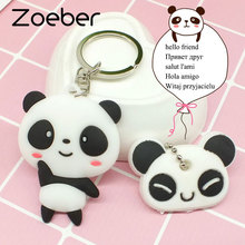 Zoeber wholesale panda keychains Kung Fu cute anime cat bear cartoon face silicone PVC keyring kawaii Present female Gift #A109
