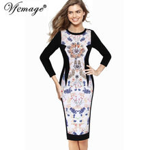 Vfemage Womens Autumn Elegant Floral Printed Contrast Patchwork 3/4 Sleeve Casual Work Special Occasion Party Sheath Dress 6602(China)