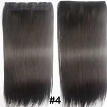 "Free Shipping 24""(60cm) 1pcs set 100g Women straight Long Synthetic Hair Clip In On Hair Extensions #4 dark brown"