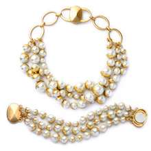 Elegant Ladies Jewelry Set Imitation Pearl Beaded Necklace With Bracelet Magnet Clasp Chunky(China)