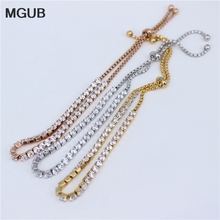 MGUB 3 color selection 316L stainless steel classic jewelry female fine crystal bracelet small and lovely adjustable LH350