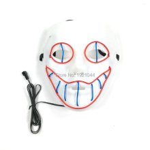 New 3 Type EL Wire Flash Mask with DC-3V Sound activated Driver Fluorescent mask for Night Club Mask Decoration(China)