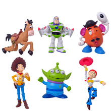 NEW Hot Cute 6pcs/set 8-11cm Toy Story 3 Buzz Lighter Woody Jessie PVC Action Figure Model Toys Baby Kids Christmas Gifts