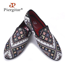 Piergitar new Mixed colors men loafers Ethnic style lattice men casual shoes Party smoking slipper men's flat size US 4-17(China)