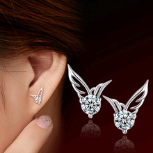 Tomtosh 2016 New  high quality Ladies Fashion silver plated jewelry crystal angel wings ear stud Free shipping