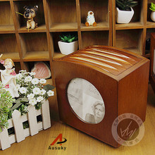 A Ausuky NEW Retro European Wooden rotation  60 Disc Capacity DVD CD Case for Car Media Storage CD Bag -20
