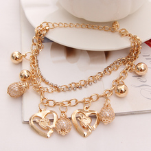 Hesiod Fashion Temperament Exaggerated Exquisite Rhinestone Gold Color Bracelet Beads Pierced Heart Tassel Pendant Bracelets