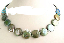 huij 002893 16mm Green Coin Freshwater Pearl Necklace 14K GP(China)