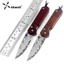 KKWOLF outdoor camping survival hunting tactical knife carving Cocobolo handle Damascus folding knife Pocket knives free shippin(China)