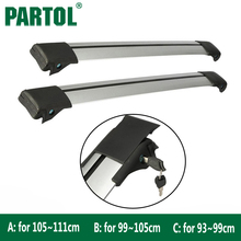 Partol 2pcs Car Roof Rack Cross Bars Top Roof Box Luggage Boat Carrier Anti-theft Lock Adjustable For 93~99cm 99-105cm vehicles