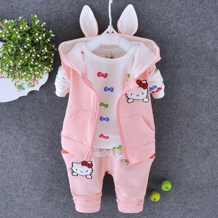 Fashion new born baby set winter high quality sleeveless hooded 3 pcs pink baby coat + top + pants set<br><br>Aliexpress