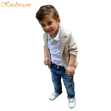 2017 New Arrival Baby Boys Clothing Sets 3 Pieces Blazer + T Shirt + Jeans European Style Children Casual Suits Kids Wear, HC563