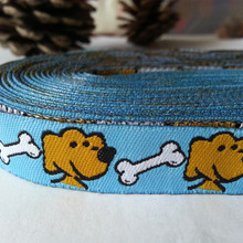 Wholesale blue 2015 new dog love bones 14 mmx10yard/lot 100% polyester woven  jacquard ribbon For Dog Collar lace