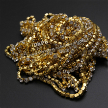 10 yards /roll SS12 Gold Plated Metal can be sewed on garment bags rhinestone cup chain (densify claw)