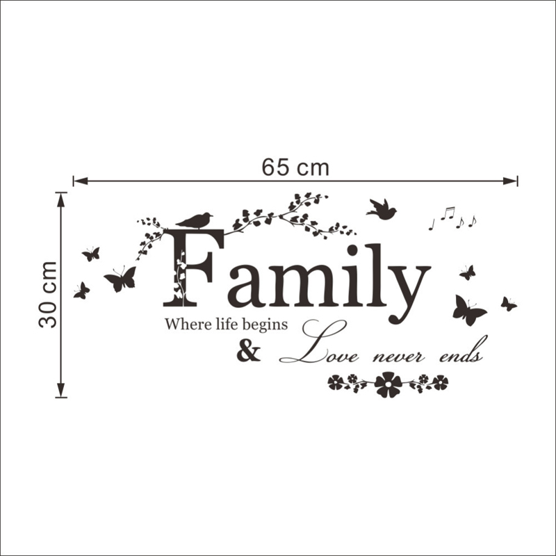 Family Love Never Ends Quotes Vinyl Wall Stickers Home Decor Living Stunning Quotes About Family Love