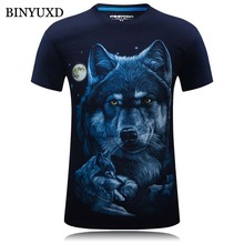 BINYUXD 3D Men T Shirts Brand Clothing Slim Printed Wolf Extended 3d t shirt Plus Size 6XL 2016 Summer Style New Fashion(China)