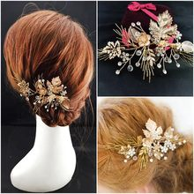 Dower me Luxury Vintage Gold Wedding Prom Hair Clip Comb Handmade Flower Leaf Tiara Crystal Bridal Headpiece Accessories