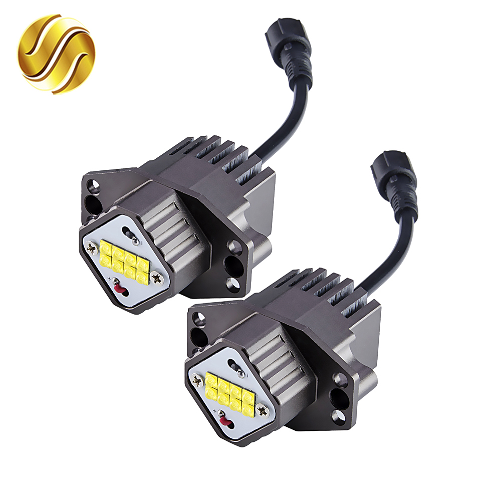 flytop LED Marker Angel Eyes 2*80W 160W for CREE LED Chips 2 Pieces(1 Set) XENON White 7000K for BMW E90 E91<br>