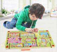 MBF Brand Kids Wood Blocks Children Wooden Blocks Pencils magnetic maze walking beads toys urban traffic maze children early(China)