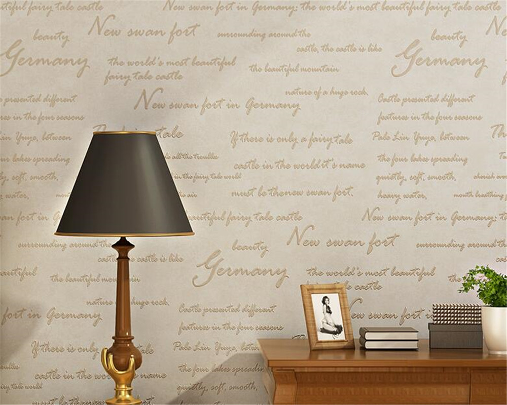 Beibehang wall paper home decor American Retro English alphabet Wallpaper Study Bedroom Bedroom background 3D Wallpaper tapety<br>