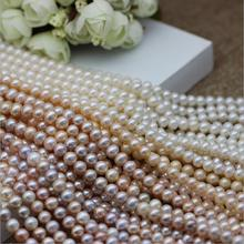 2017  New 924+++ 1PC 7-8mm natural freshwater pearl necklace, AAAA natural pearl, DIY semi-finished product