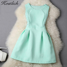 Kostlich Women Evening Party Dresses 2017 Elegant Summer Dress A-Line Lace Bodycon Casual Mini Dress Sundress Vestidos Clothes(China)
