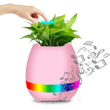 Car Ornament Creative Touch Music Pots Intelligent Bluetooth Wireless Audio Flowerpot Planter Lighting Speaker Singing(China)