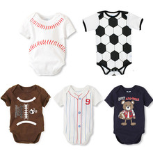 Summer Cotton Baby Rompers Infant Toddler Jumpsuit Football Newborn Baby Girl Boy Clothing Overall Clothes(China)