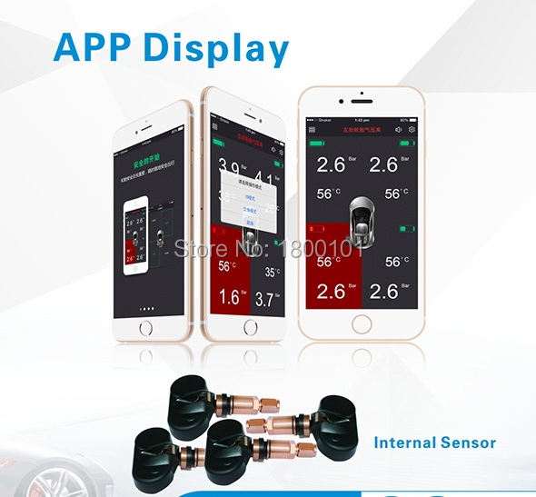APP display TPMS autocar tire pressure monitor system,4 internal sensors alarm wireless bluetooth for Android and IOS system<br><br>Aliexpress